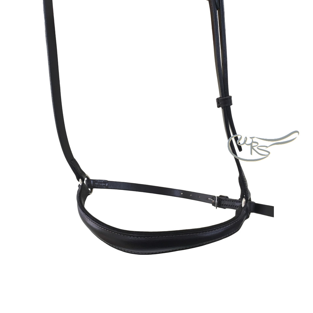English Leather Lined and Raised Drop Noseband