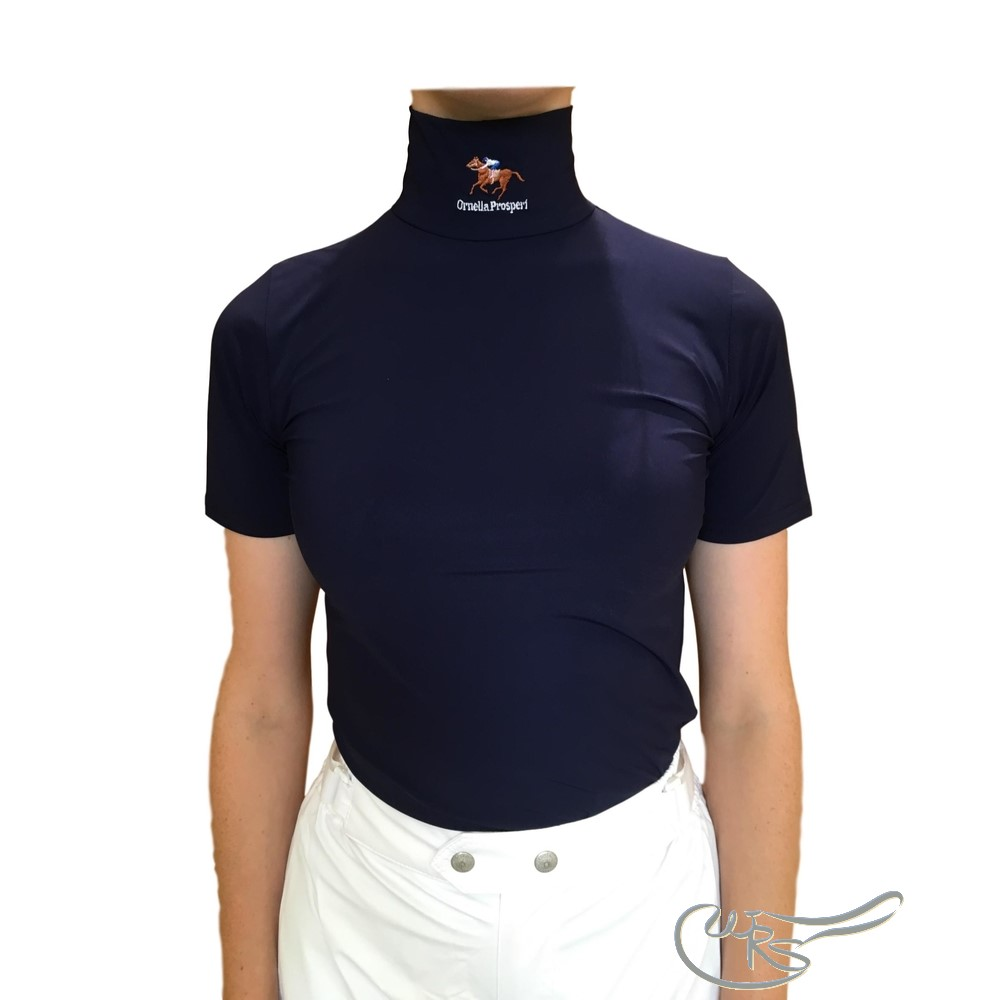 Ornella Prosperi Short Sleeve Lycra Race Shirt, Navy Blue