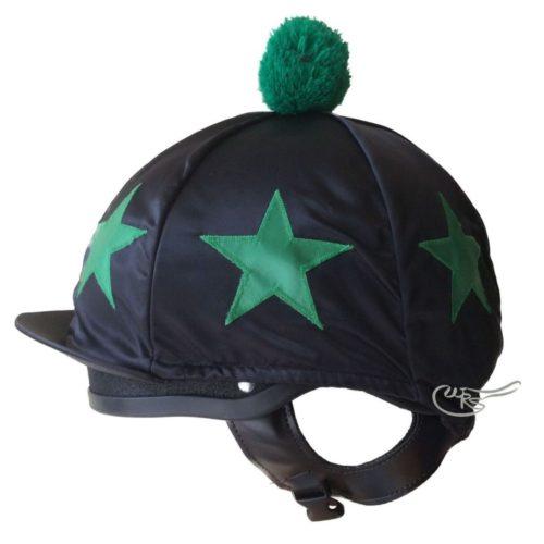 Nylon Hatcover, Black, Green Stars