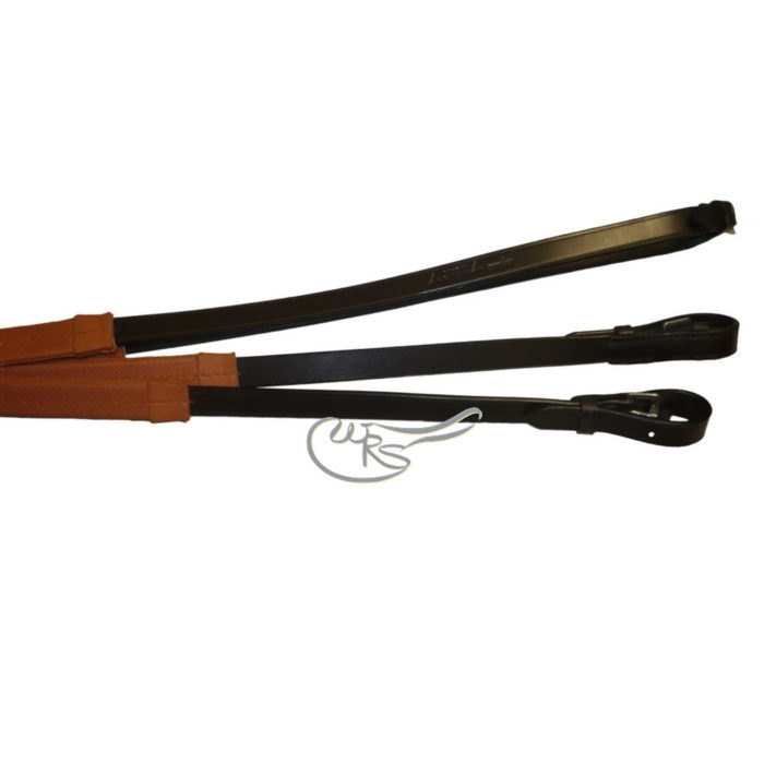English Leather Rubber Grip Race Reins, Orange Grips