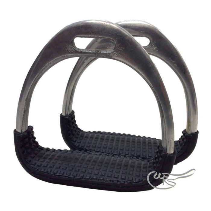 WRS Aluminium Stirrups with Leather Covered Bottoms and Rubber Grips