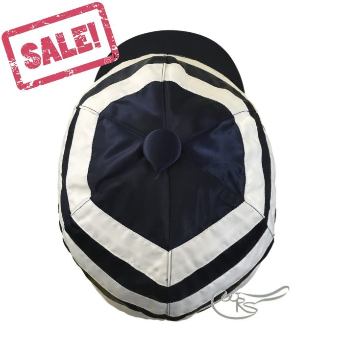 WRS Nylon Hat Cover with Ties for Racing, Navy/ White Hoops