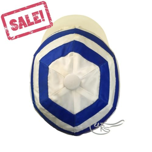 WRS Nylon Hat Cover with Ties for Racing, Royal Blue/ White Hoops